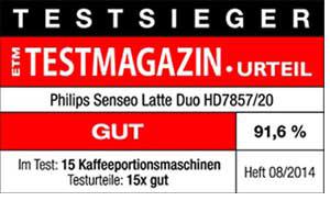 ETM Testmagazin Testsieger Philips Senseo Latte Duo HD7857 20